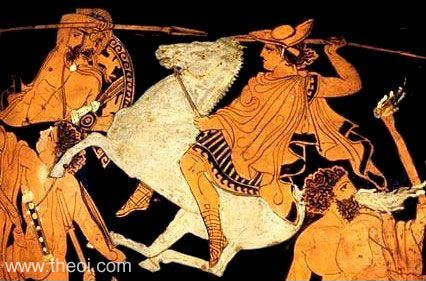 Ares fighting in the Trojan War on his horse Fear