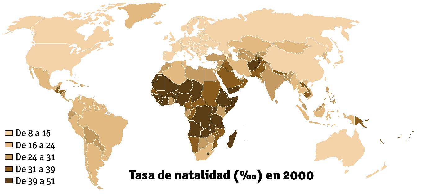Resultado de imagen de mapa de natalidad